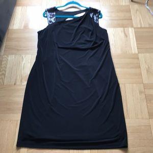 NWT CALVIN KLEIN ASYMMETRICAL SEQUIN BLACK DRESS